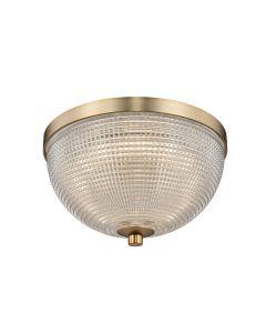 Fresnel Glass Flush Mount Lighting in Brass